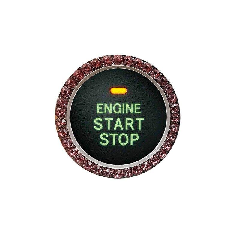 Auto Car Bling Decorative Accessories Automobiles Start Switch Button Decorative Diamond Rhinestone Ring Circle Trim0