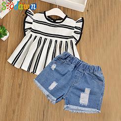 Sodawn-Kinder-Kleidung-Mode-Gestreiften-T-Shirt-Denim-Shorts-2-Pcs-2018-Sommer-Neue-M-dchen