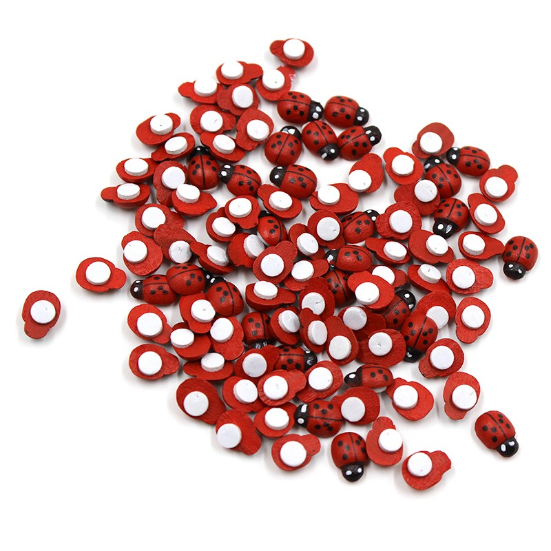 DIY-200Pcs-Wooden-Ladybird-Ladybug-Sticker-Children-Kids-Painted-Adhesive-Back-Craft-Home-Party-Holiday-Garden