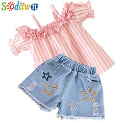 Sodawn-2018-Sommer-Neue-Baby-M-dchen-Kleidung-Set-Baumwolle-Kurzarm-Cygnet-Design-Mesh-Druck-Rock